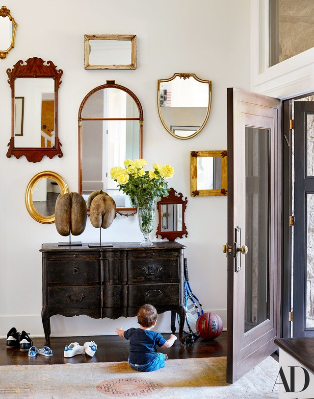 Architectural Digest front hall lots of mirrors