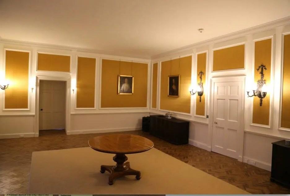 Ardgowan Estate Dining Room yellow gold room parquet floor Ordeal by Innocence