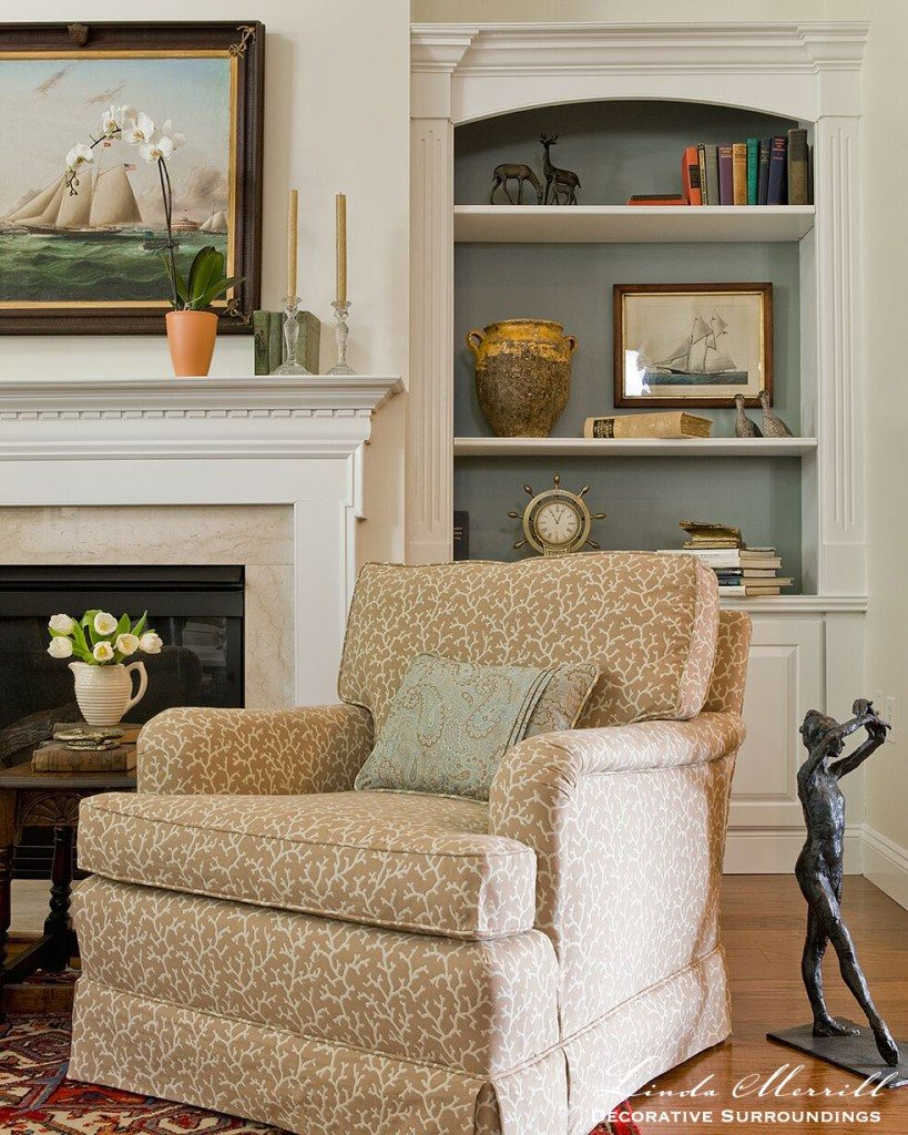 Linda Merrill design Armchair-by-fireplace Duxbury MA 02332 upholstery