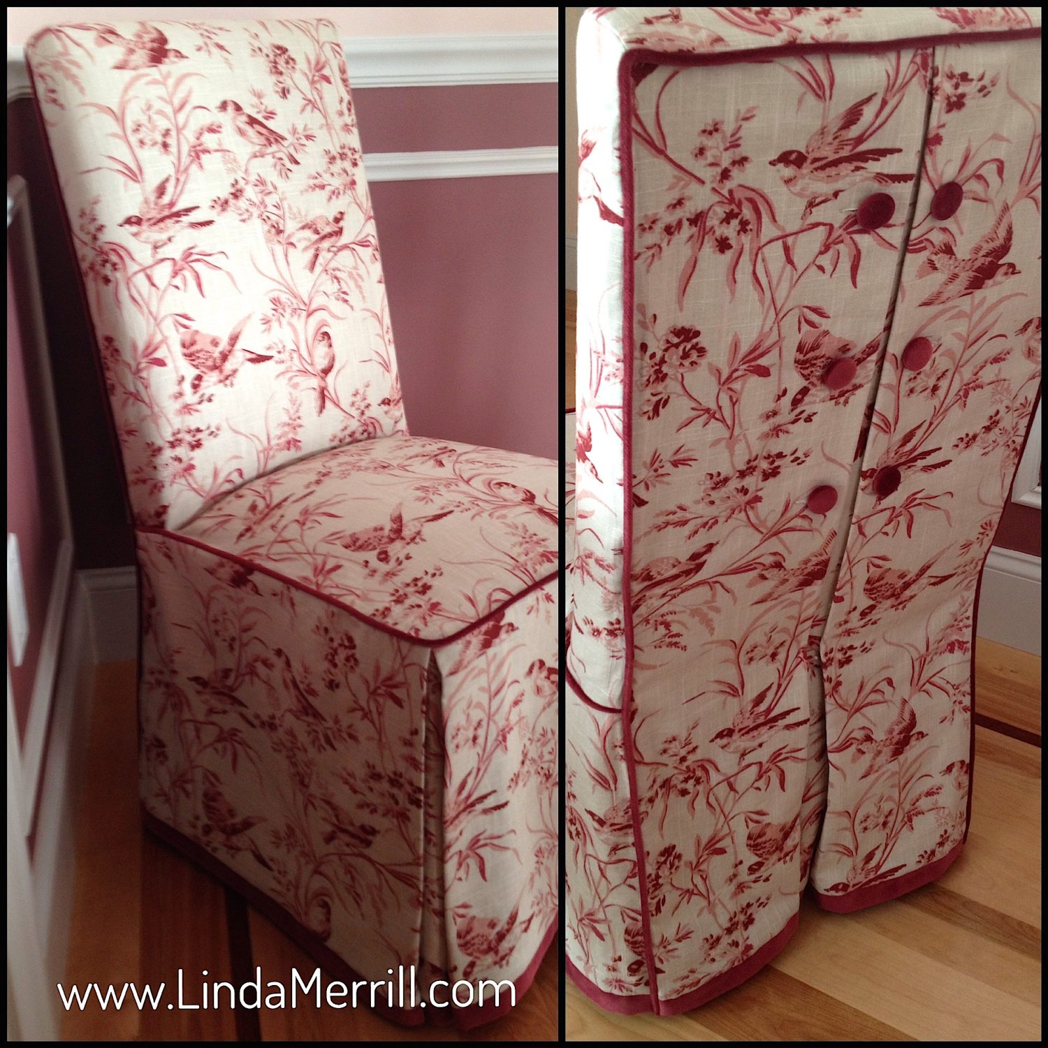 Linda Merrill design Norwell MA 02060 floral red and white chair dressmaker details upholstery