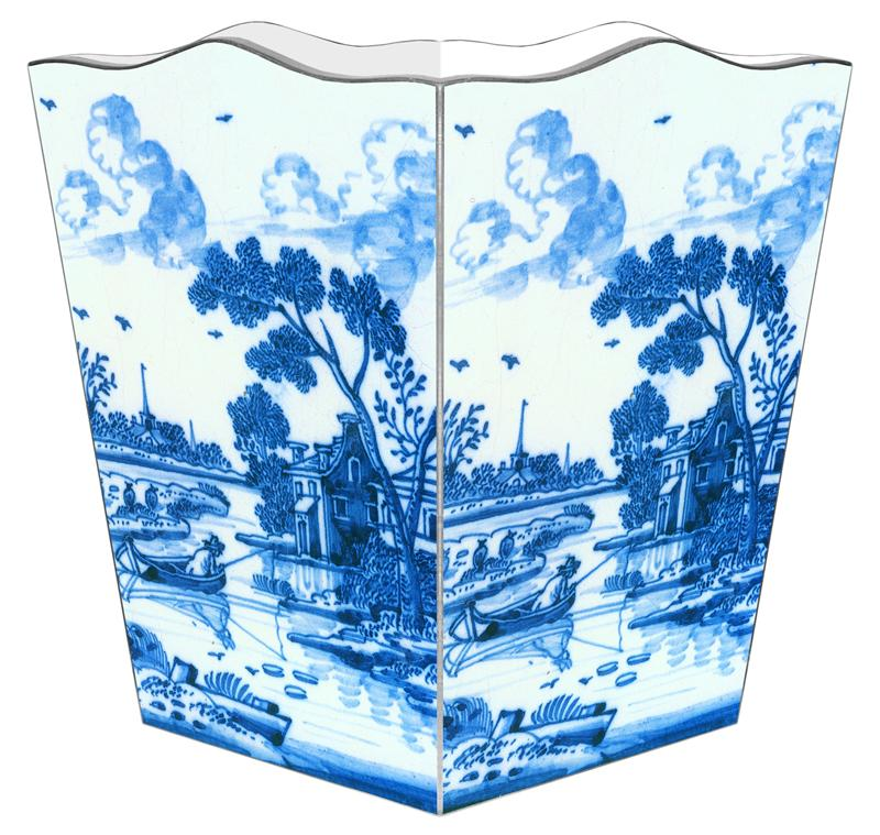 Marye Kelley delft decoupage wastebasket