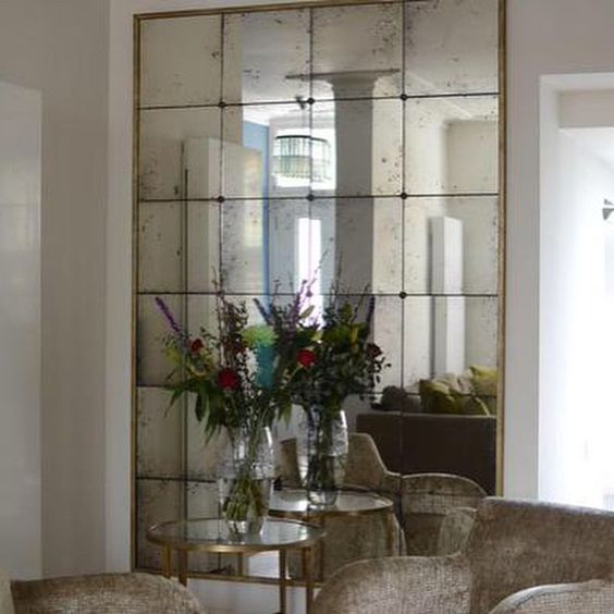 Rough Old Glass mirrored wall in sitting area mirrors