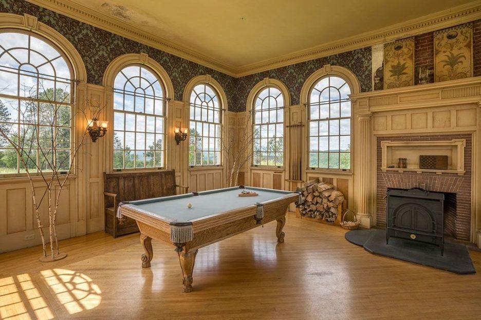 Burklyn Hall pool room fireplace vermont palladium windows