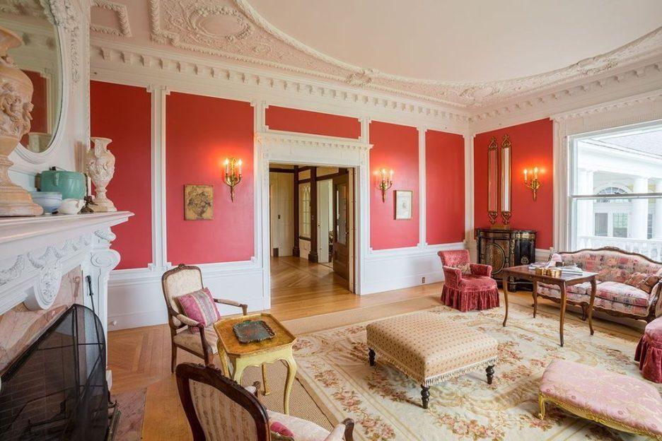 Burklyn Hall red living room