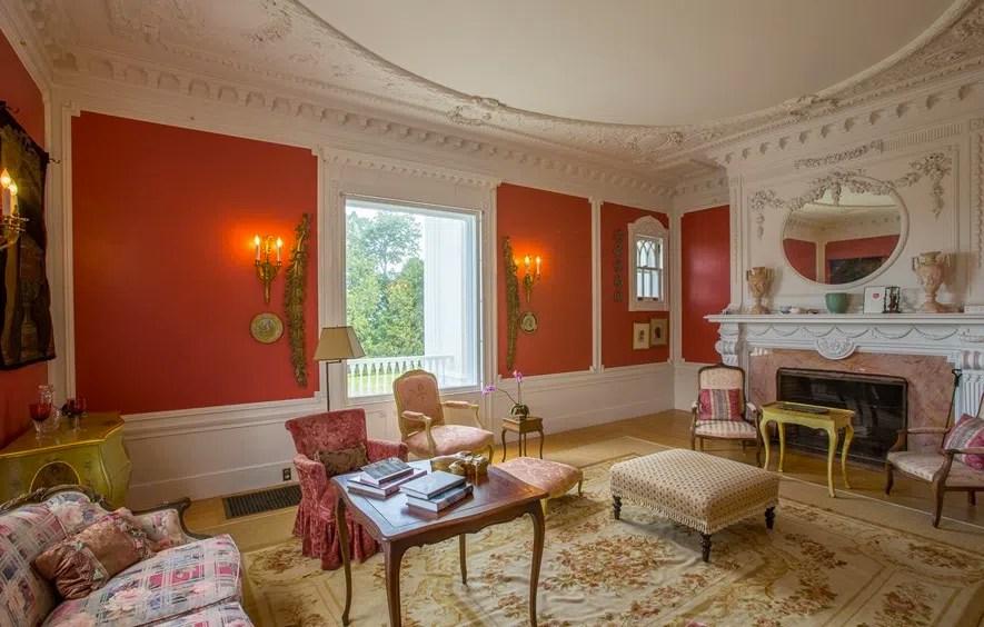 Burklyn Hall pink living room 2