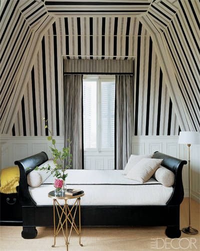 Designer Todd Hase Striped bedroom Wallpaper ceilings angles