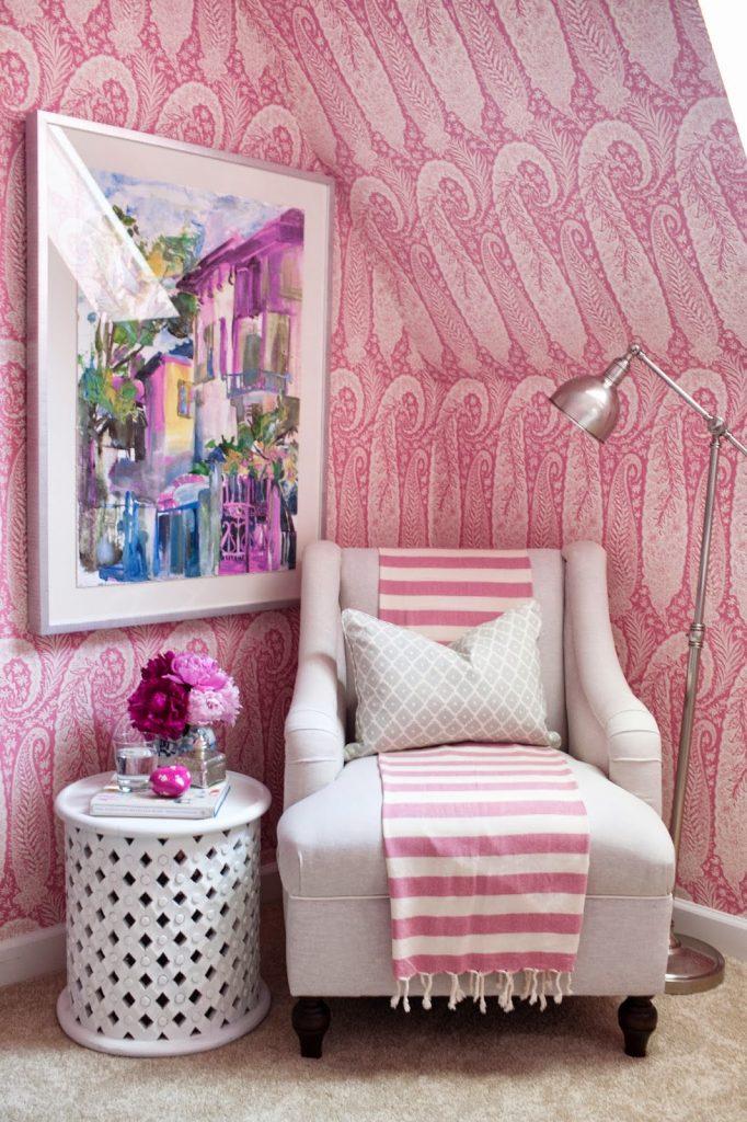 Jamie Meares Interior Design i suwannee Pink Peoni bedroom Wallpaper ceilings angles