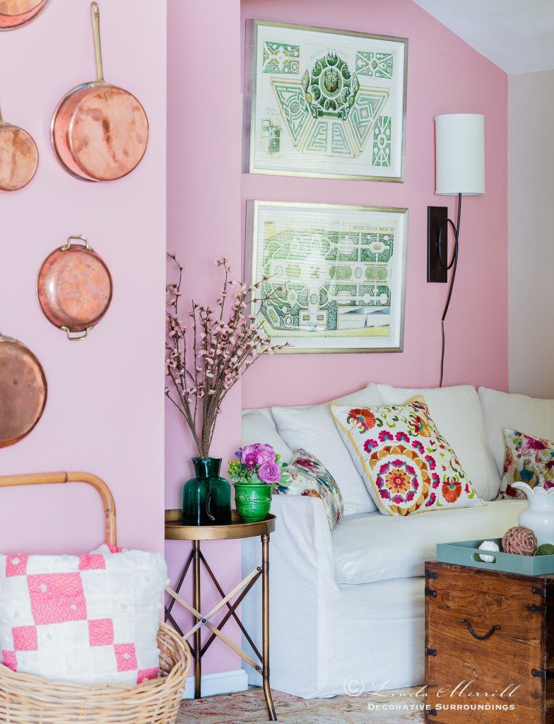 Design Linda Merrill Photography Michael J Lee living room pink green tiny tables side tables