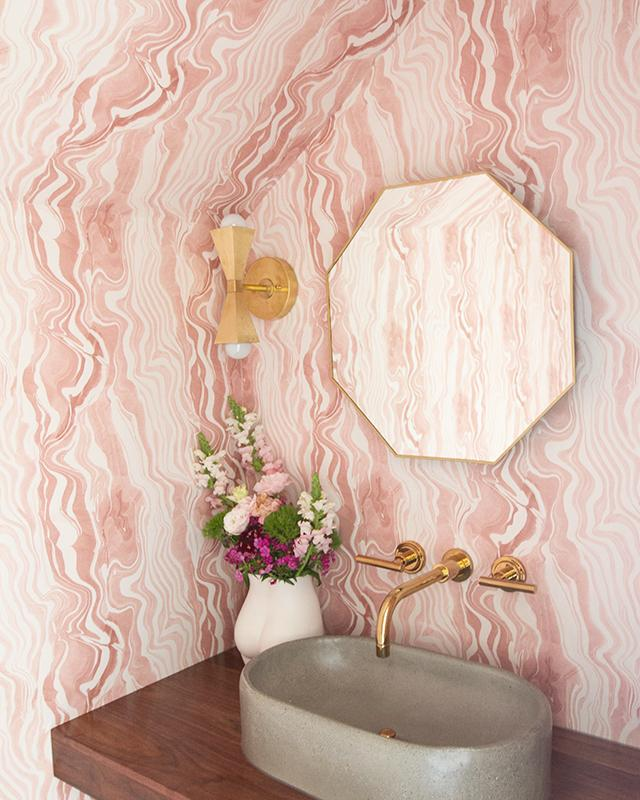 Sarah Sherman-Samuel Design pink marble bathroom Wallpaper ceilings angles