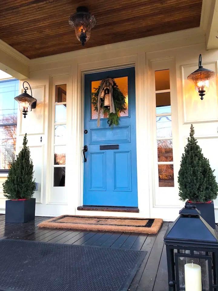 front door gas lanterns blue door Newburyport Christmas decorating house tour 2018 2020 Holiday
