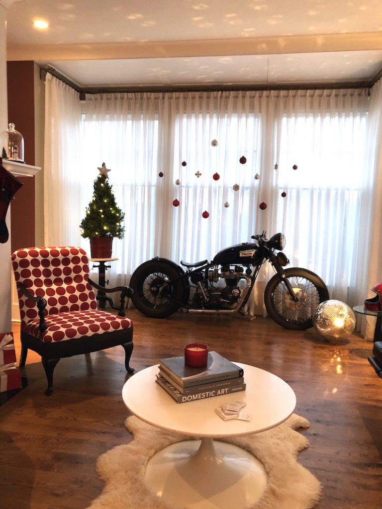 288 High Street living room motorcycle Christmas Holiday House Tour 2018
