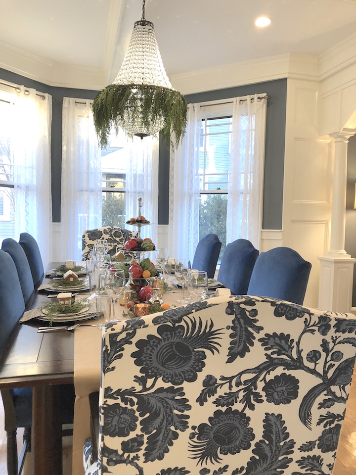 Pond Street Dining room Newburyport Christmas decorating house tour 2018