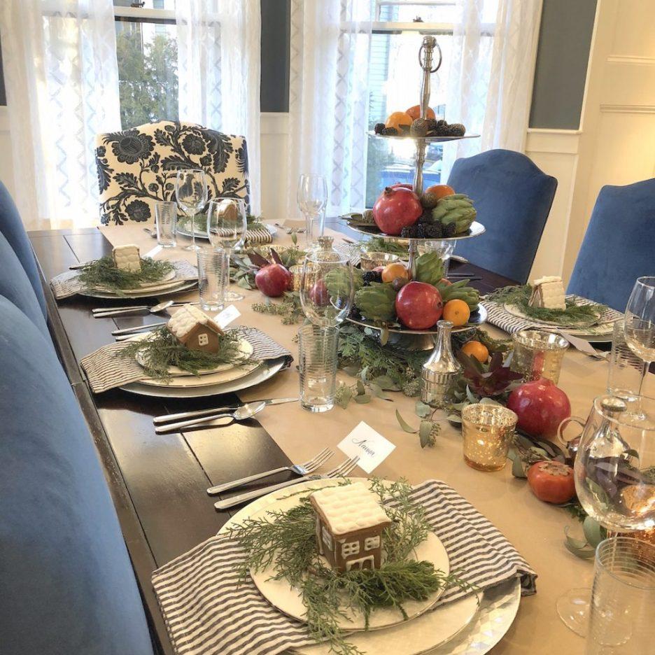 Pond Street dining room table closeup Newburyport Christmas decorating house tour 2018