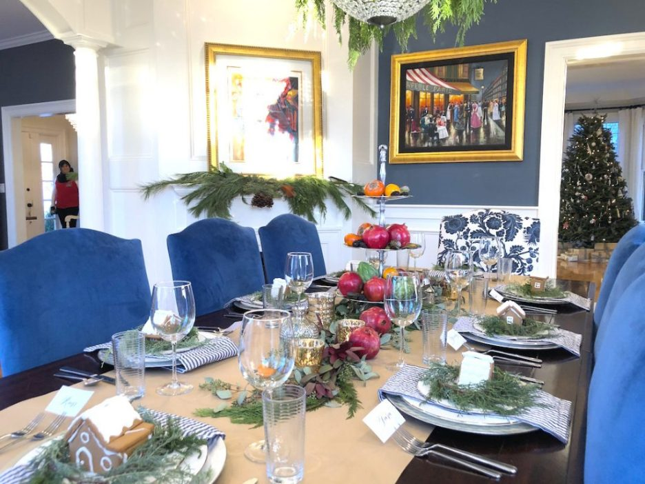 Pond Street Dining room table fireplace Newburyport Christmas decorating house tour 2018