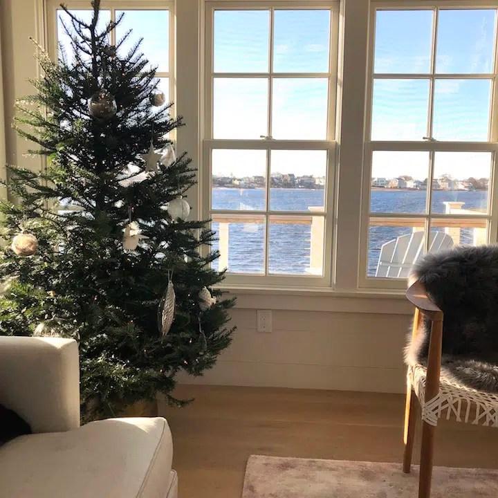 Plum Island living room waterview Newburyport Christmas decorating house tour 2018