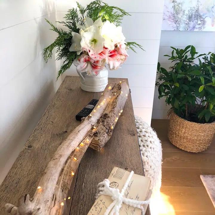 Plum Island living room tabletop Newburyport Christmas decorating house tour 2018