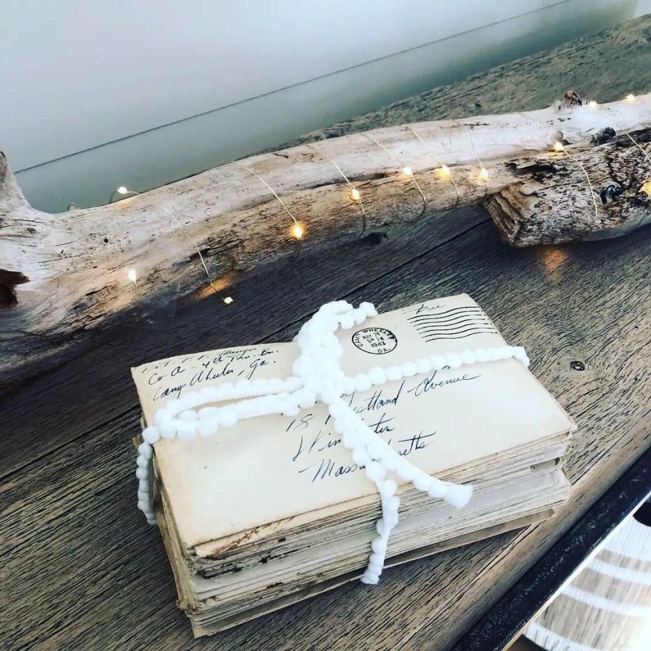 Plum Island Living room antique letters driftwood Newburyport Christmas decorating house tour 2018