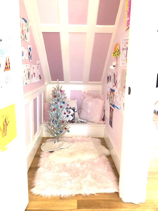 Pond Street play room under stairs pink purple tinsel tree Newburyport Christmas decorating house tour 2018