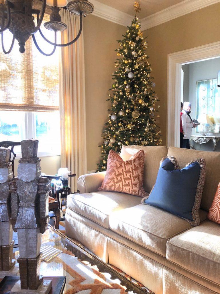 212 High Street living room orange 1 Christmas Holiday House Tour 2018