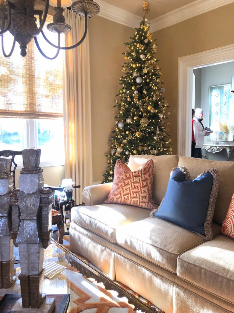 212 High Street living room orange 1 Christmas Holiday House Tour 2018
