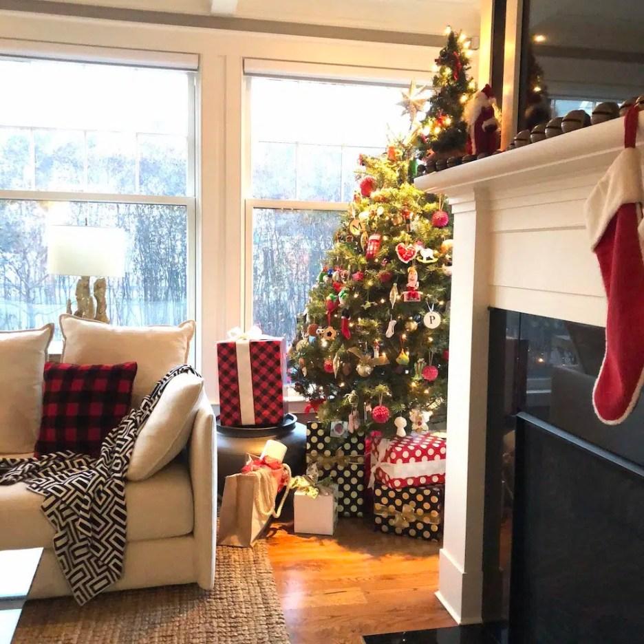 288 High Street Sunroom mantle christmas tree Christmas Holiday House Tour 2018