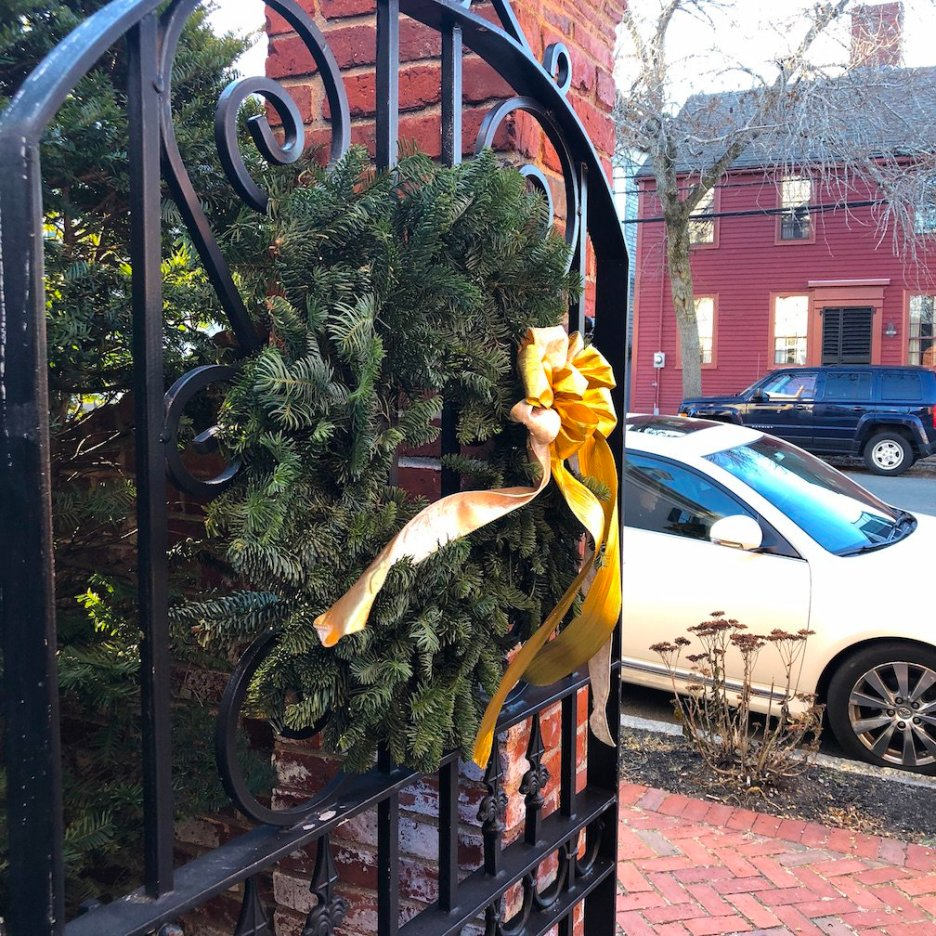 19 Federal Street Wreath on Gate door Christmas Holiday House Tour 2018