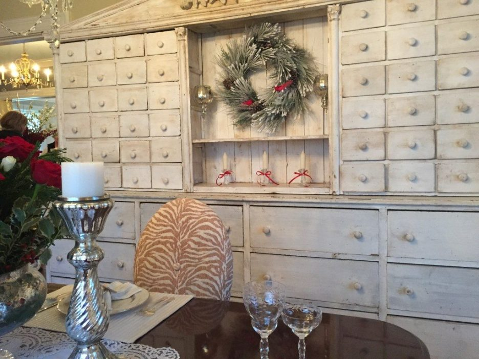 Newburyport Christmas dining room painted cabinet greens