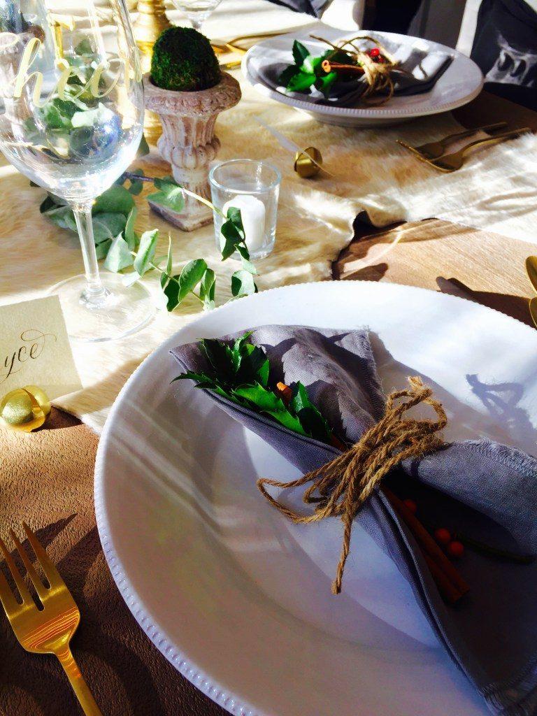 Newburyport Christmas dining table decor napkin detail