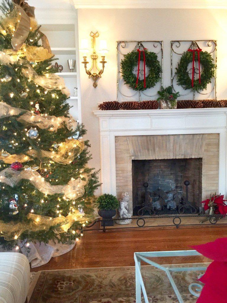 Newburyport Christmas mantle decor wrought iron wreaths