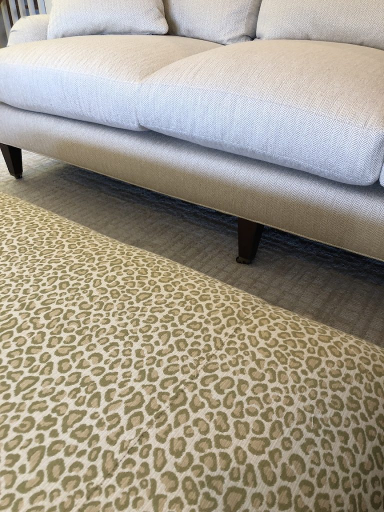 Linda Merrill decorative surroundings greeb animal print ottoman English arm sofa Duxbury Massachusetts 02332 designer's net price