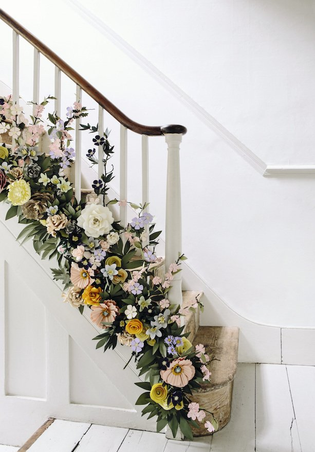 The Paper Florist staircase flowers Paper Flowers