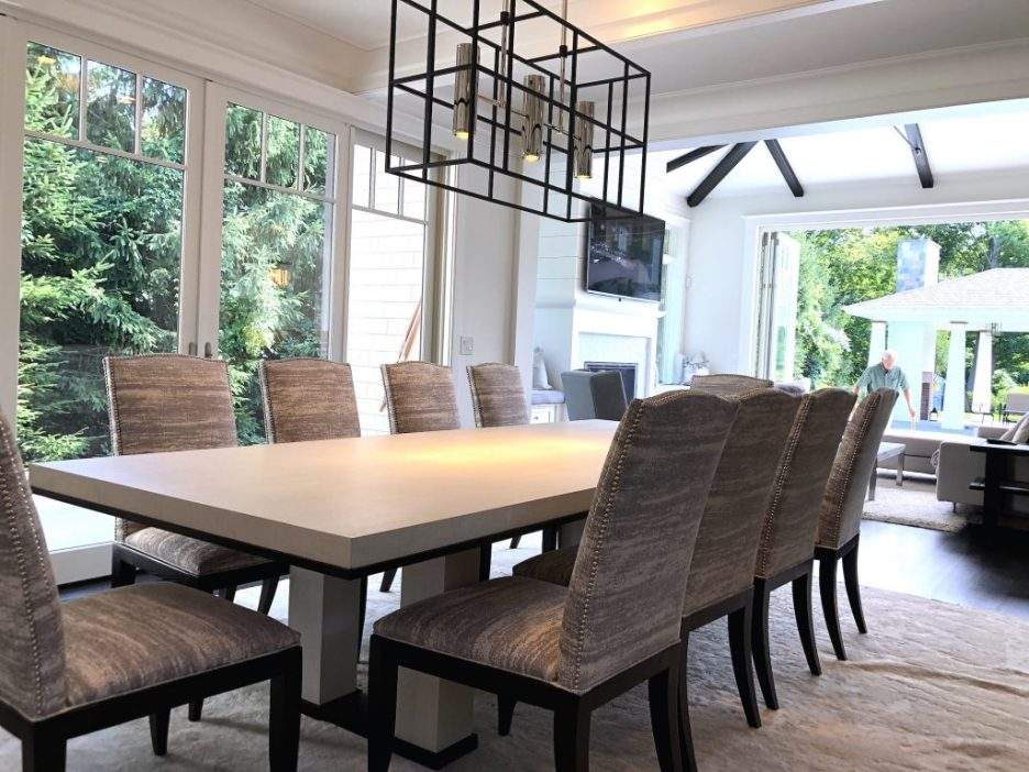8 Wilshire Rd Newburyport Kitchen Tour 2019 Modern Black and White Dining room LMM