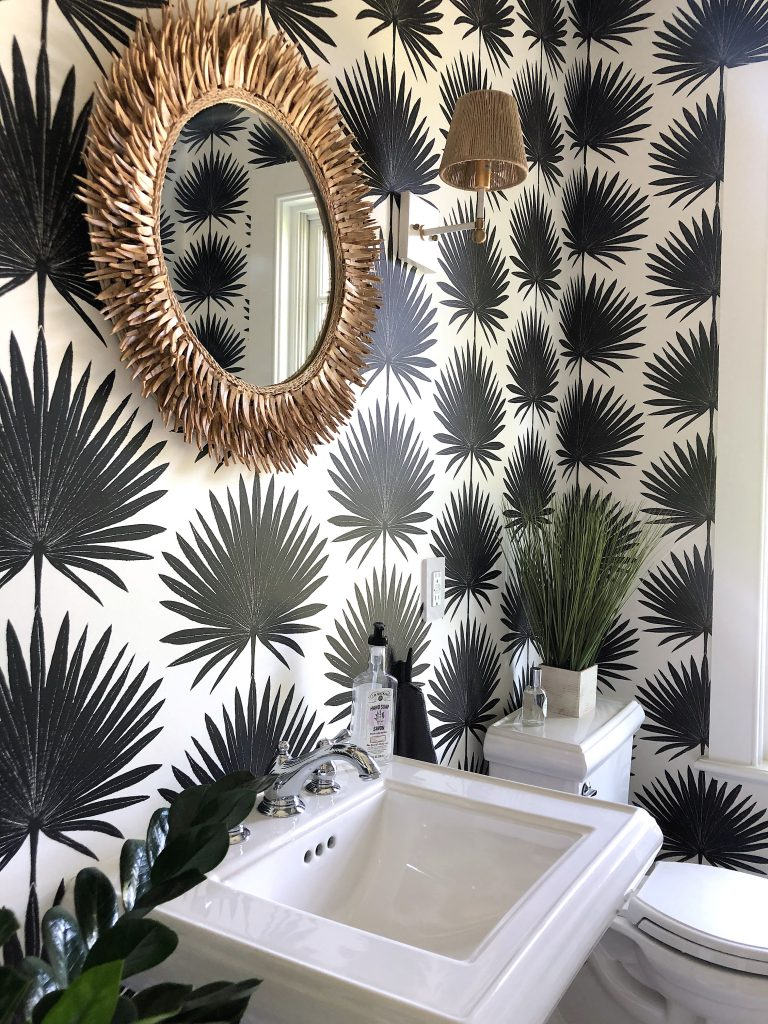 163 High Rd Newburyport Kitchen Tour 2019 Modern Black and White bathroom palms 1 LMM