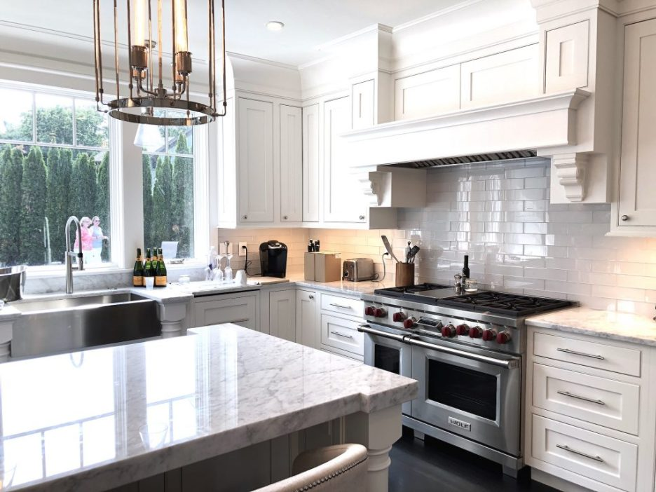 8 Wilshire Rd Newburyport Kitchen Tour 2019 Modern Black and White Kitchen stove LMM