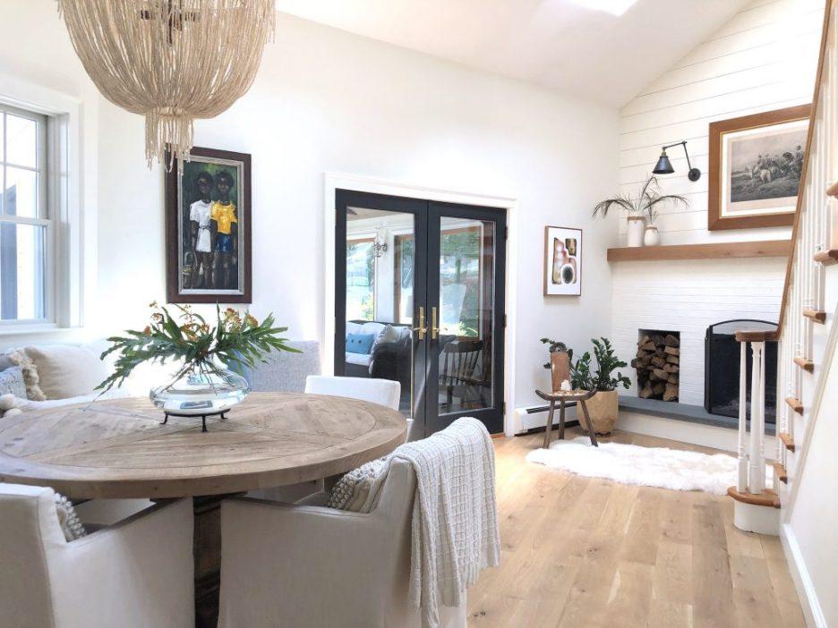 Christopher St Newburyport dining fireplace sunroom