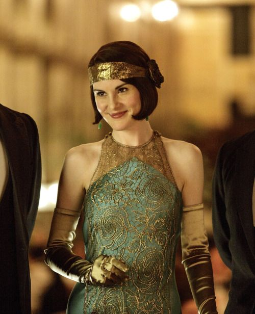 Lady Mary teal and gold evening dress