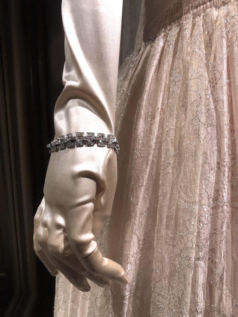 Lady Rose presentation dress glove and bracelet detail Downton Abbey Exhibition 7289