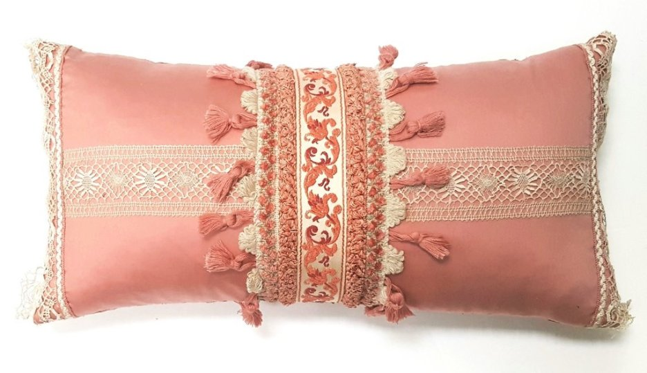 SOFT PINK VINTAGE FRENCH TRIM & LACE PILLOW Deborah Main The Pillow Goddessn designer collections