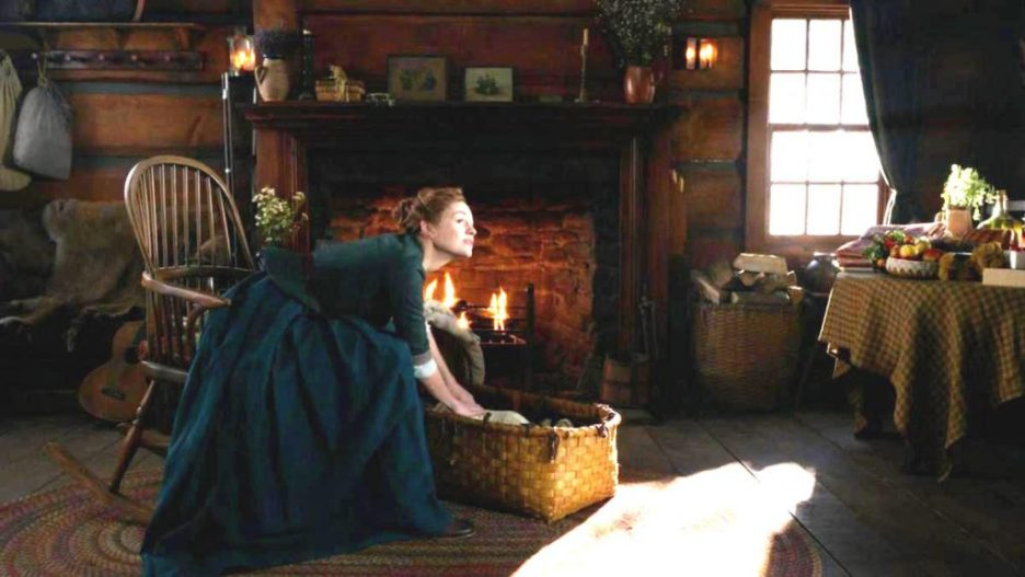 Starz Outlander The ridge cabin brianna Jemmy fireplace interior outlander-online season 5