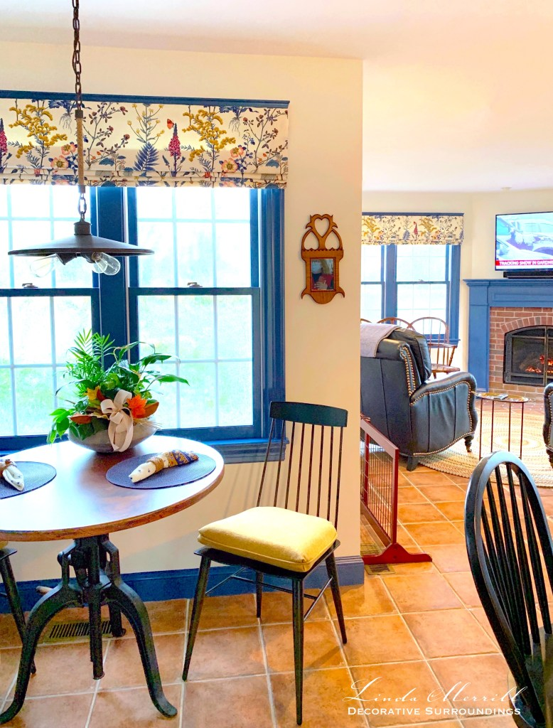 Linda Merrill Decorative Surroundings Colorful Cape Cod Home dining and living area