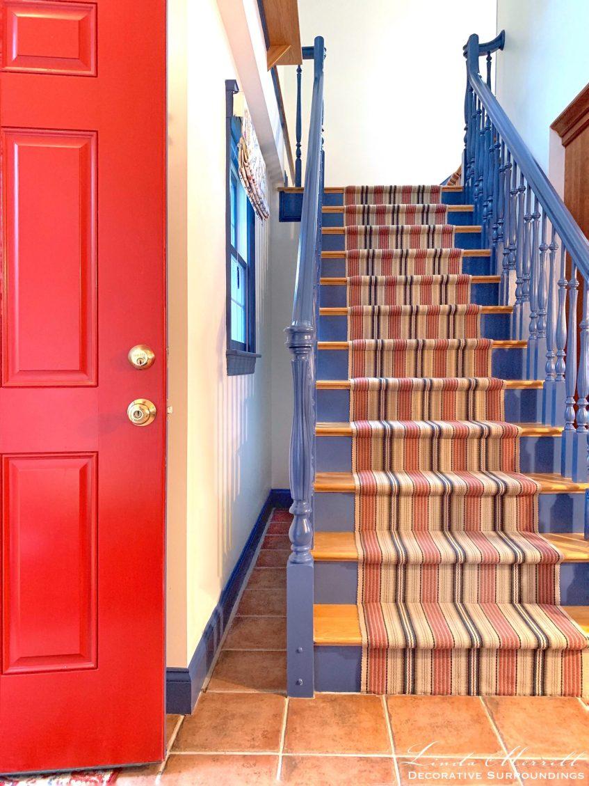 Linda Merrill Decorative Surroundings striped flat weave carpet Cape Cod house