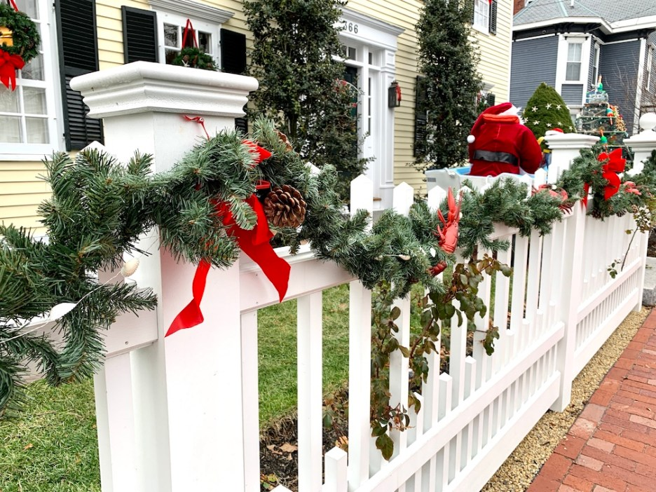Newburyport 2020 Holiday House Tour Yellow Colonial High Street decorated fence