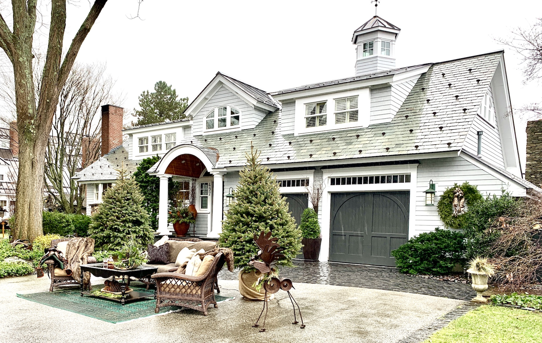 Newburyport 2020 Holiday House Tour Amesbury Main Street custom home Yellowstone Montana inspired house front