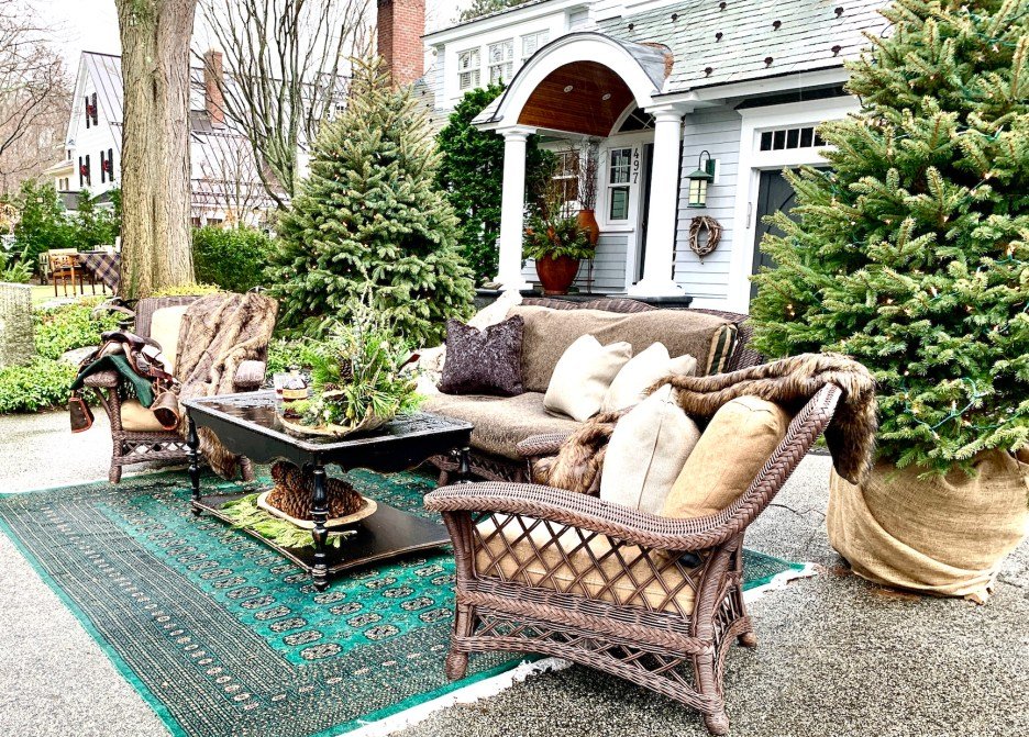 Newburyport 2020 Holiday House Tour Amesbury Main Street custom home Yellowstone Montana outdoor living room