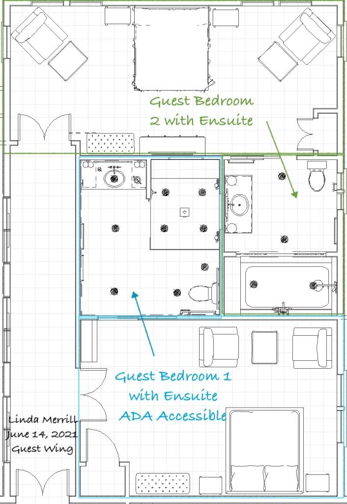 Linda Merrill Guest Wing Floor plan ADA Design for Accessible Universal Living