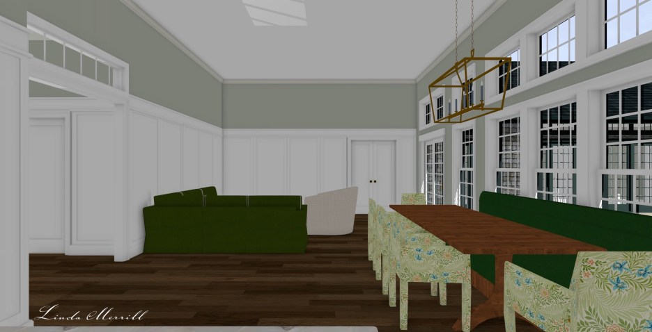 Linda Merrill Dream Home 2021 Side view great room front entry millwork