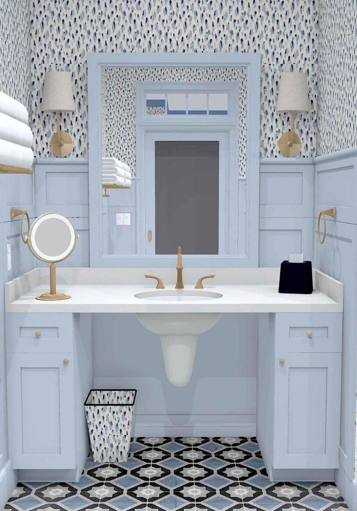 Linda Merrill Decorative Surroundings Dream Home 2021 ADA Universal and Accessible Guest Bath 1 vanity