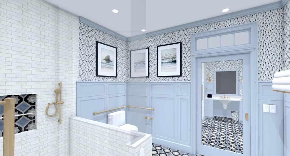 Linda Merrill Decorative Surroundings Dream Home 2021 ADA Universal and Accessible Guest Bath 2