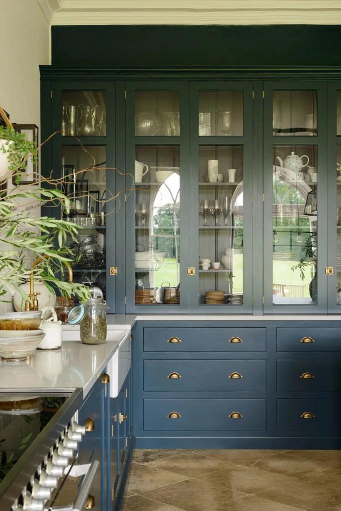 Devol Kitchen blue kitchen glass door cabinet soulful kitchen