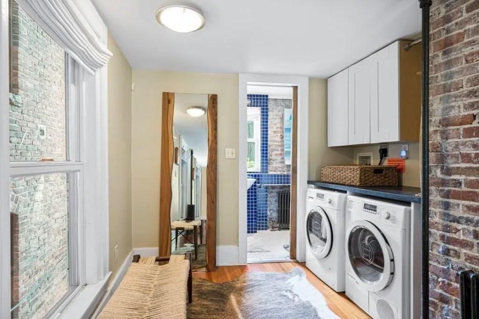 44 Hull St Boston Skinny House Spite House bathroom laundry room 2nd floor